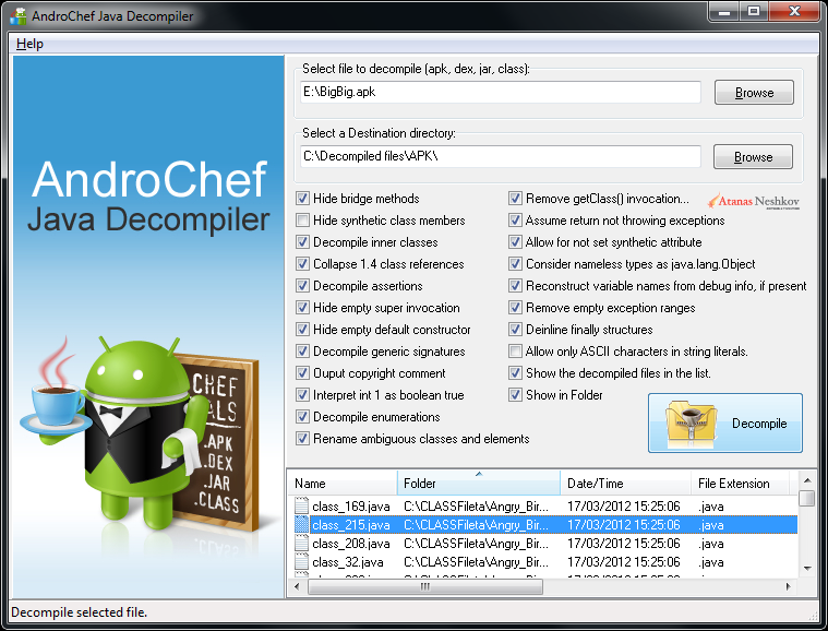 AndroChef Java Decompiler screenshot